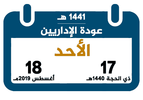 عودة الإداريين للعام الدراسي 1441 تقويم السعودية