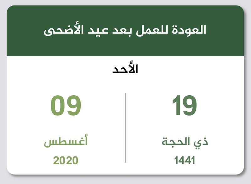 إجازة عيد الأضحى 1441 2020 تقويم السعودية