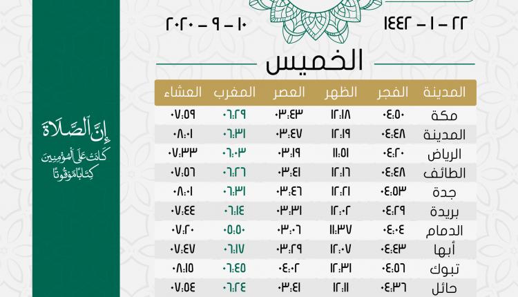 أوقات الصلاة يوم الخميس 22 محرم 1442هـ تقويم السعودية