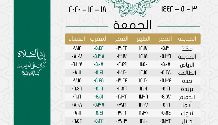 أوقات الصلاة يوم الجمعة 3 جمادى أول 1442هـ تقويم السعودية