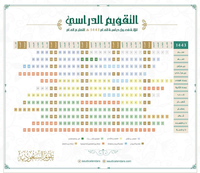 التقويم الدراسي 1443 هـ الموافق 2021 - 2022 م ( تحميل و طباعة ) - تقويم السعودية
